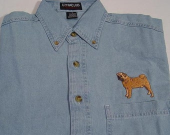 PUG DOG Small to 4XL Embroidered Long Sleeve Light Blue Denim Shirt - Price Embroidery Apparel