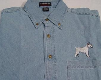 SALE - 2XL SCHNAUZER Dog Embroidered Long Sleeve Light Blue Denim Shirt  - Price Embroidery Apparel