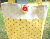 Yellow Gingham Flowered Purse - Tote