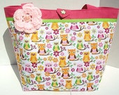 Handmade Kawaii Owl Purse of Tote in Tropical Bright Colors