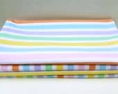 Bright Cheerful Cloth Napkins with Pastel Stripes Set of 4