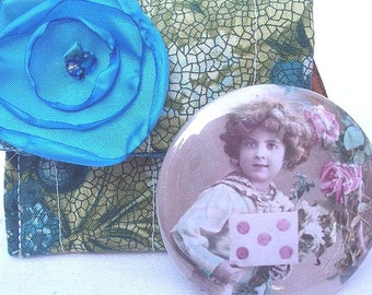 Victorian Rose Pocket Mirror with Carrying Case on Clearance