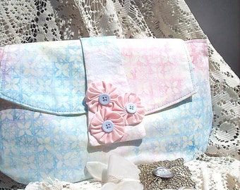 Clutch in Pastel Batik Fabric Pale Yellow, Pink and Blue on Clearance