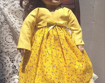 Yellow Floral Sundress Skirt Jacket for 18 Inch Fashion Doll