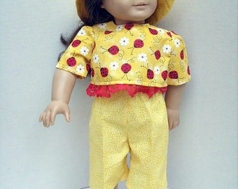 Dress Hat Capris Top for 18 Inch Fashion Doll in Bright Yellow