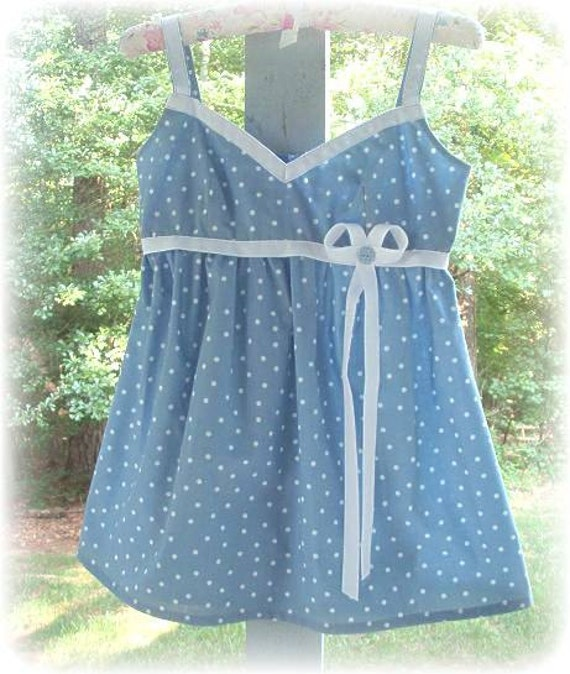 Blue Polka Dotted Feminine Summer Top