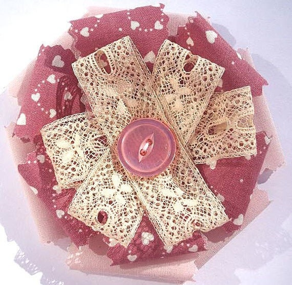 Fabric Flower Brooch Valentines Day Shabby Chic Rose and Vintage Lace