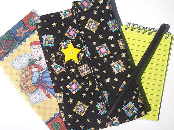 Handmade Gift for Quilter Personal Planner Wallet Quilt Block Print on Clearance