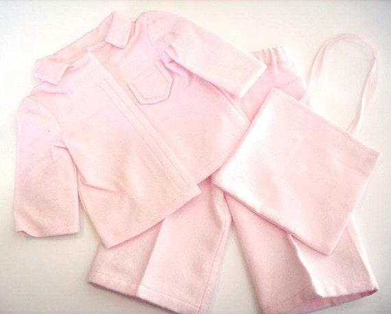 Cozy Pink Flannel Pajamas for American Girl Doll