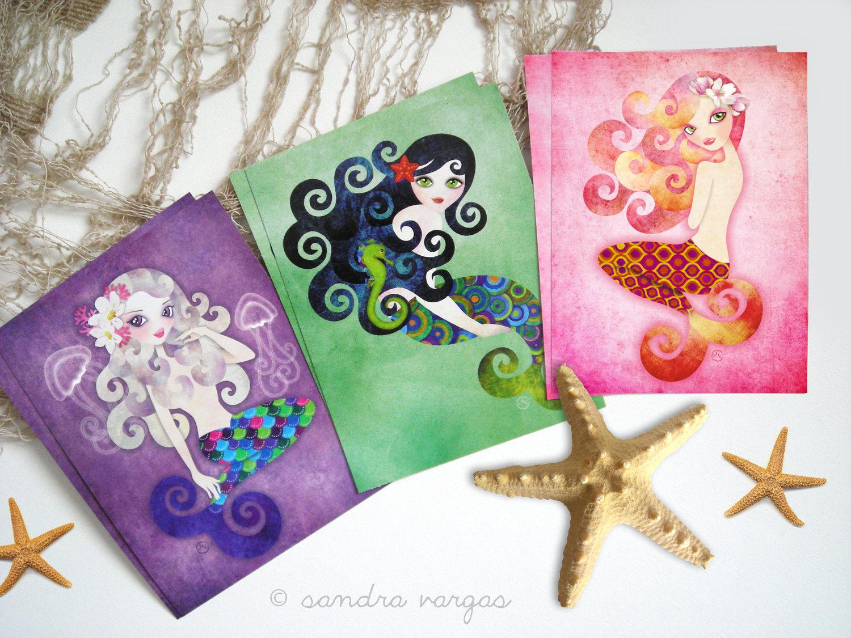 Mermaids Postcard Gift Set of 6 Postcrossing