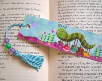 Catty Caterpillar Beaded Childrens Bookmark Back to School