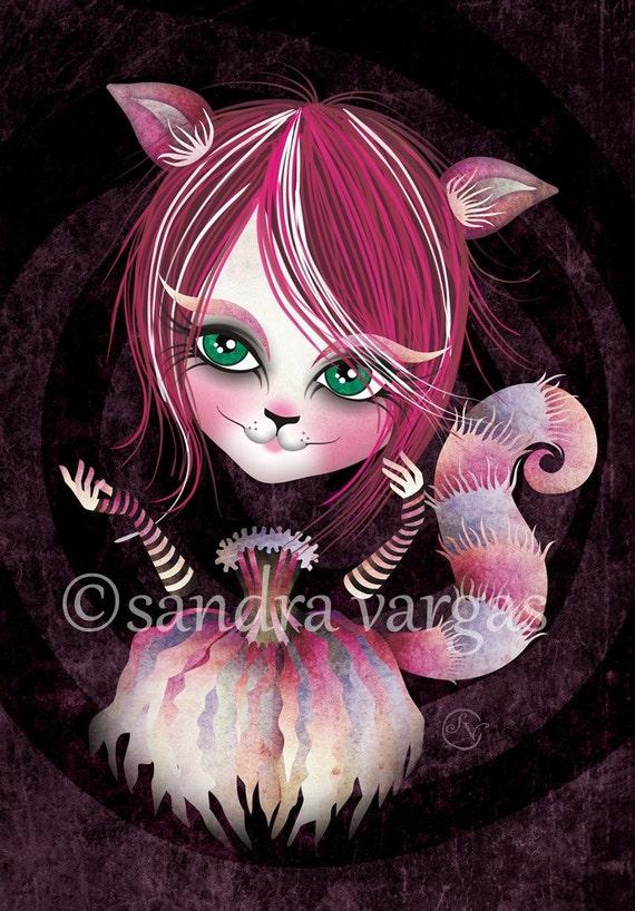 Cheshire Kitty, 8.5 x 11, Alice in Wonderland Print