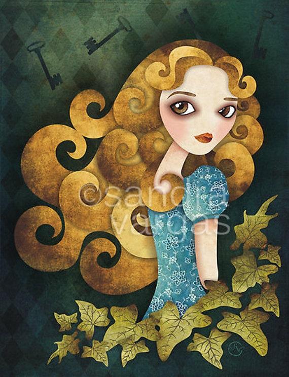 Alice in Wonderland, 8.5 x 11 Print Digital Illustration