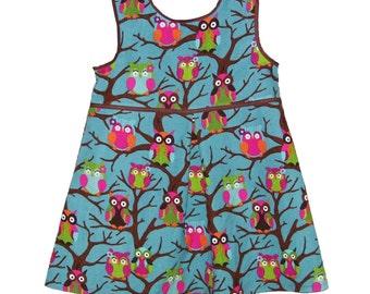 What a Hoot- Little Girls Owl Dress, Fall, Owls, Blue, Pink, Green, Orange, Brown, Cotton, Corduroy, Girls, Baby, Sundress, Best Seller