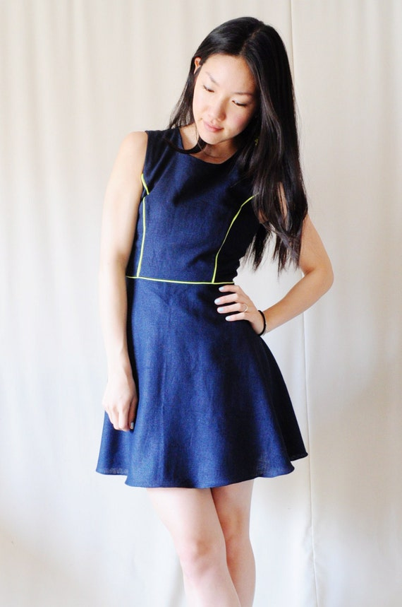 Navy Blue Skater Dress with Neon Piping - Sleeveless, Half Circle Skirt - S