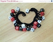 CHRISTMAS IN JULY Sale Clearance - Black Crochet Bracelet with Dice Charms - by Catie's Cottage Crafts