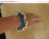 CHRISTMAS IN JULY Sale Clearance - Crochet Blue Cotton Bracelet w/ light wooden pony beads - by Catie's Cottage Crafts