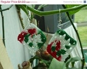 CHRISTMAS IN JULY Sale Clearance - Crochet Red White and Green Granny Square Earrings - Christmas - By Catie's Cottage Crafts