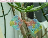 CHRISTMAS IN JULY Sale Clearance - Crochet Cotton Pastel Granny Square Earrings - pink, blue, yellow and green - by Catie's Cottage Crafts