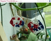 CHRISTMAS IN JULY Sale Clearance - Crochet Red, White and Blue Granny Square Earrings - American - by Catie's Cottage Crafts
