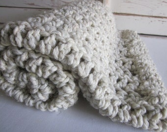 Baby blanket ~ chunky soft wool blend ~ Beach Sand