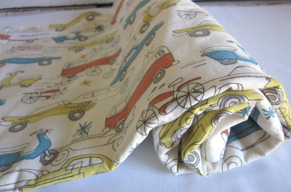 Organic cotton fleece baby blanket - RETRO CARS