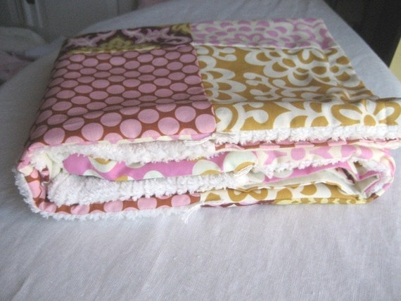 Autumn pink lotus chenille patchwork quilt - fall collection