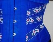 Underbust Poker Playing Cards Blue Burlesque Corset Ultramarine Tattoo Flash Size XL BUY NOW
