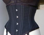 Black Waist Cincher Corset with Retro Bullet Bra women's transwoman or crossdresser Bettie Page style PICK YOUR SIZE