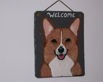 Corgi Dog Welcome Slate