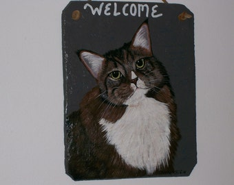 Maine Coon Cat Welcome Slate