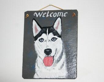 Siberian Husky Welcome Slate