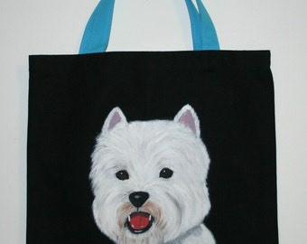 Reusable Canvas tote with hand painted Westie dog