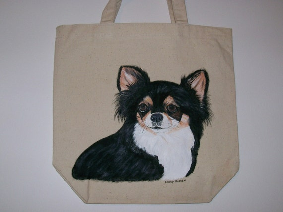 Reusable canvas tote with handpainted Long Hair Chihuahua