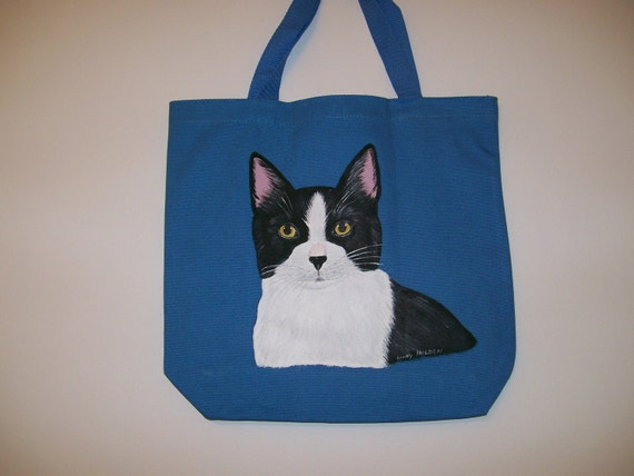 Reuseable canvas tote with Black  and white cat