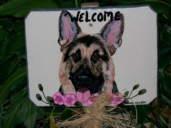 German Shepard Garden Welcome sign