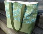 Mara Tote in Amy Butler August Fields Fabric. Bright Buds in Moss and Sage Solid