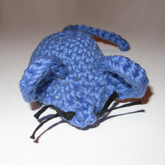 GIANT Blue Crocheted Catnip Mouse for Only the Most Discriminating Kitties - 100% Cotton & Catnip!