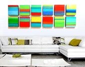 CUSTOM ORDER for Yasamin -HUGE Textured Modern Abstract Colorful Wall Art Blocks - - by Rosemary Pierce
