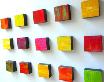 Original Abstract Mixed Media Wall Sculpture - Painted Wood Wall Art - Rhapsody 15.6 - mixed media block wall sculpture - by Rosemary Pierce