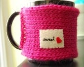 Sweet Heart Mug Cozy - Hot Pink Knitted Coffee Cosy Made to Order
