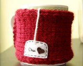 Chai Love Mug Cozy Knitted Burgundy Tea Cup Cosy
