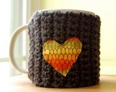 Drink Love Coffee Tea Mug Cozy - Dark Grey Rainbow Heart Cup Cosy