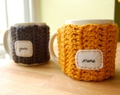 Mine Yours Coffee Mug Cozy Set - Crocheted Tea Cup Cosy Anniversary Gift Goldenrod and Grey