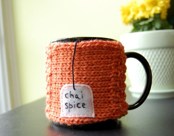 Chai Spice Tea Mug Cozy by KnitStorm on Etsy