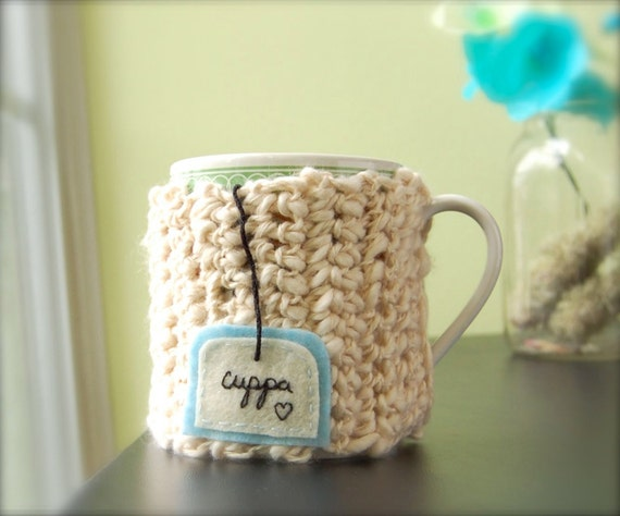 Cuppa Tea Mug Cozy - Crocheted Ivory Organic Cotton Cup Cosy Made to Order