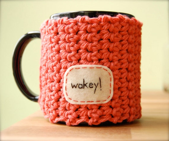 Reserved for Orianalily - Wakey Coffee Mug Cozy Coral Crocheted Tea Cup Cosy