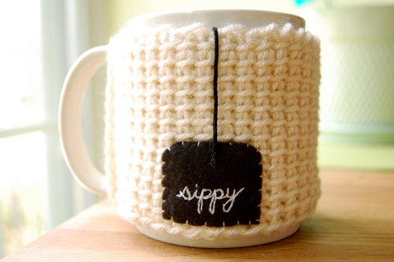Sippy Tea Mug Cozy - White Crocheted Cup Cosy