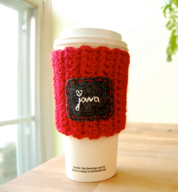 Java Love Paper Cup Cozy Cherry Red Crocheted Recycled Yarn To Go Cosy - READY TO SHIP
