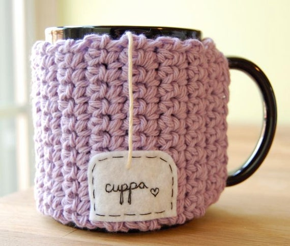 Cuppa Tea Mug Cozy Crocheted Lavender Purple Cup Cosy with Heart - Ready to Ship